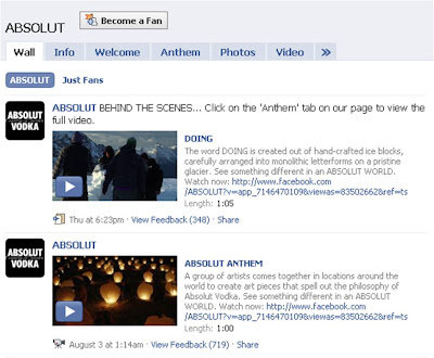 Absolut Anthem Facebook Wall