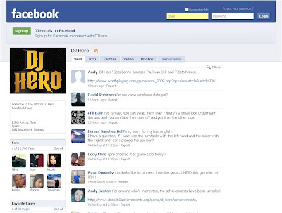 DJ Hero Facebook Fan Page