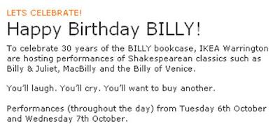 IKEA Warrington Billy bookcase Shakespeare