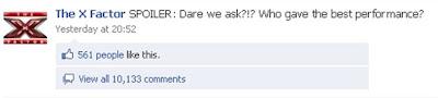 X Factor Facebook Fan Page comments