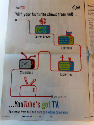 YouTube newspaper print ad Guardian UK 4OD