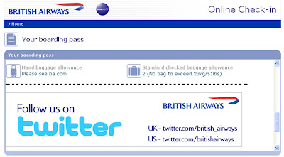 British Airways Twitter boarding pass