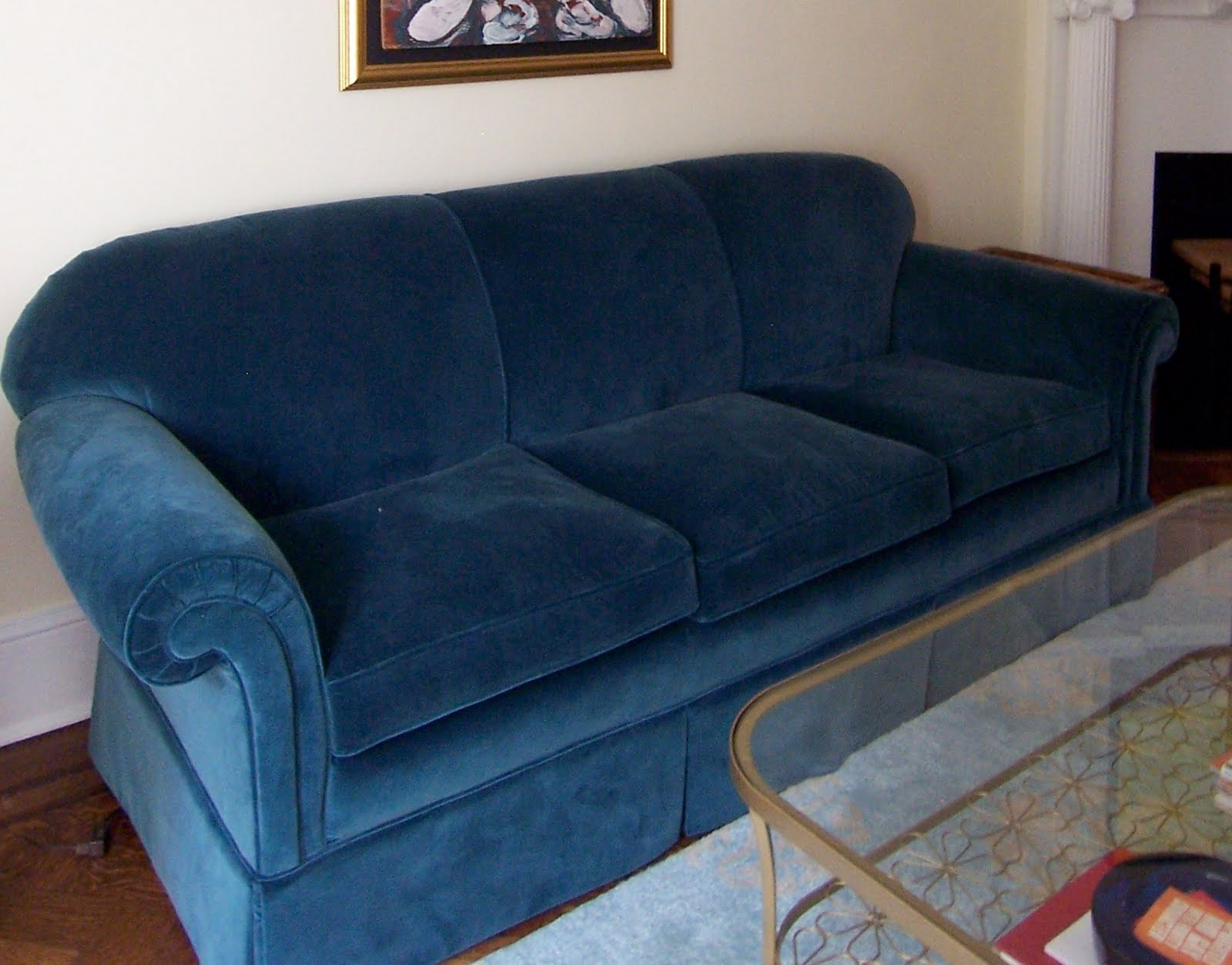 blue velvet sofa upholstery. Reupholstering furniture is expensive   bossy color Annie Elliott