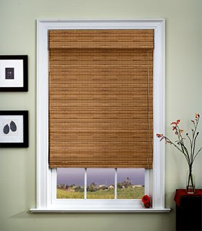 window treatment natural woven Roman shade woven wood Roman shade