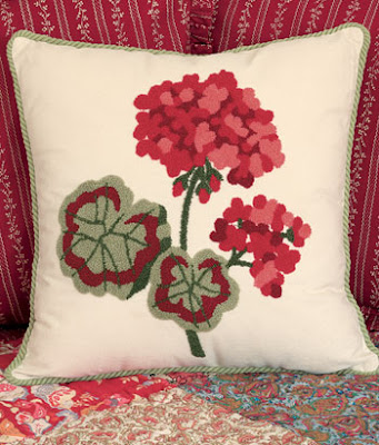 red geranium accent pillow