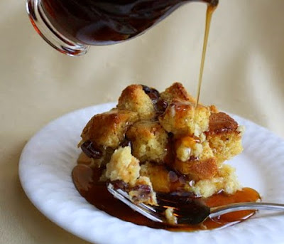 ... Sweet Corn Bread Pudding with Raisins, Cinnamon, and Maple Syrup