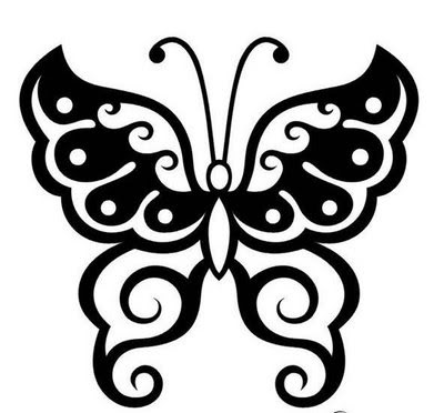 tattoo designs. Tribal tattoo design with black butterfly drawing