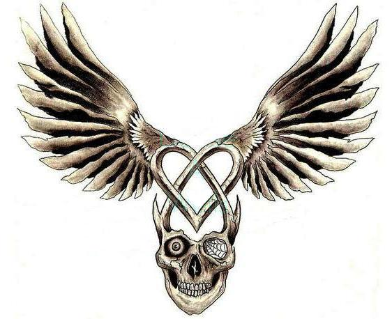 Flying With Skull Tattoo Design
