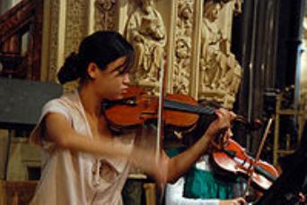 violinista interpretando con el violín para producir música
