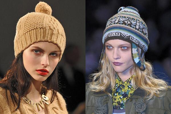 вязанные шапки на зиму 2013 схемы спицамидля круглого лица