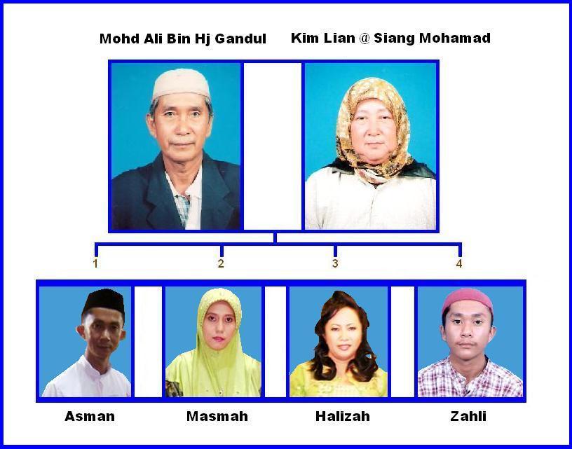 Carta Keluarga Mohd Ali Bin Hj Gandul Dan Kim Lian @ Siang Bt Mohamad