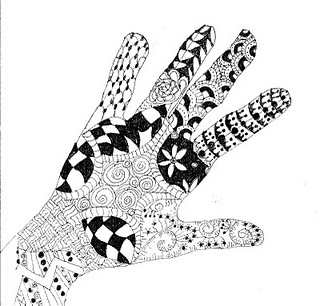 Zentangle-doodled hand...