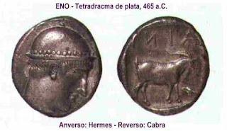Dracma con la representación de Hermes y la Cabra