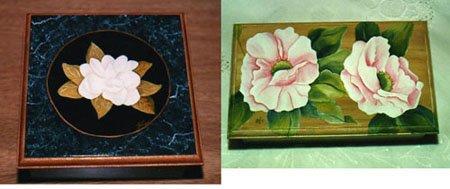 Cajas de té-pintura con acrílicos y óleos