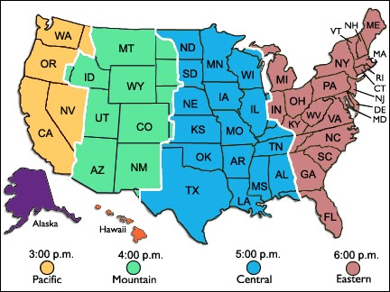 Geography Blog US Maps Time Zones - Us states map with time zones