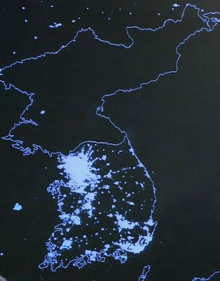 north korea at night satellite. Satellite view at night.