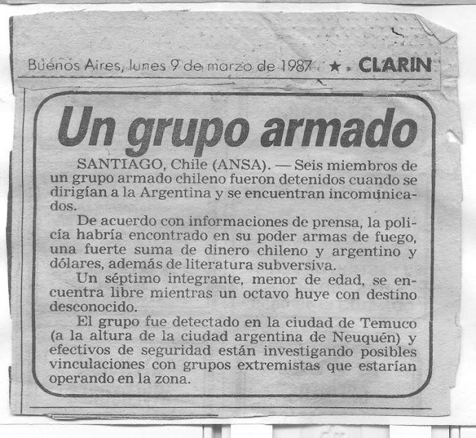 """OPERATIVO """"CONDOR"""" KUPAL LONCON MELLADO """"CLARIN"""" BUENOS AIRES 1987 - PETU MONGUELEYIN"""