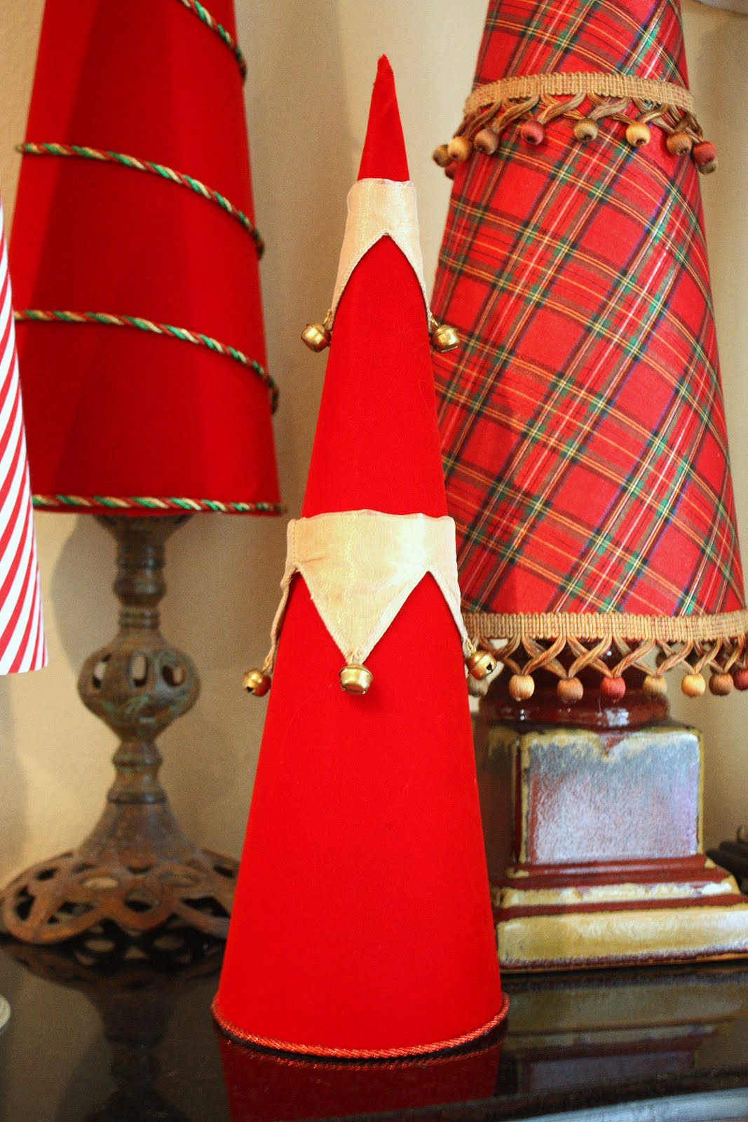 fabric covered poster board christmas tree cones. Black Bedroom Furniture Sets. Home Design Ideas