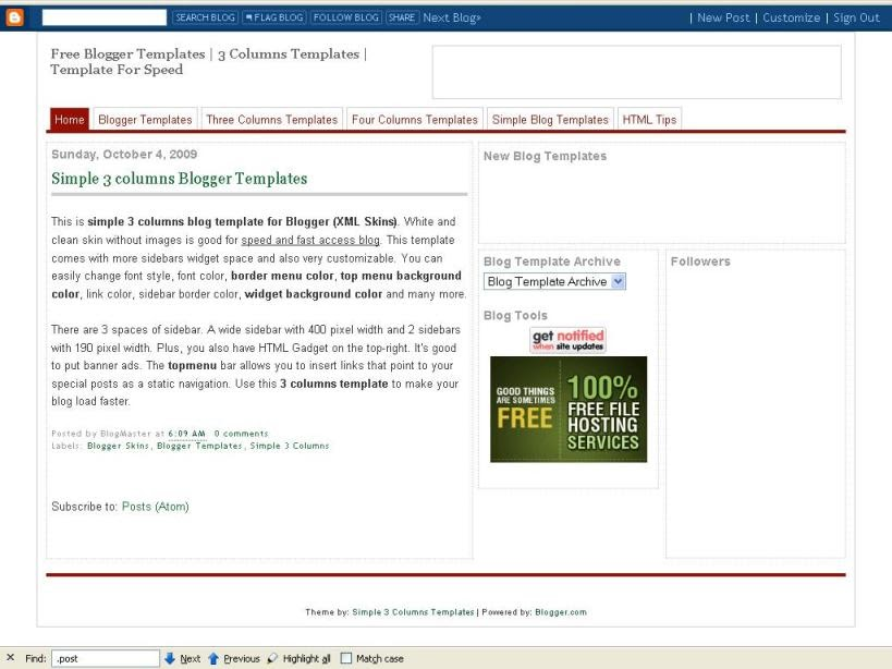 blogger templates for speed simple 3 columns templates for blogger xml