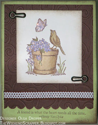 Serene Spring, card, handmade, stamping, Stampin'Up!, Cuttlebug, spring, bird, flower, butterfly