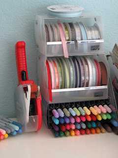 Stampin'up!, stamping, ribbon storage, craft room, markers, copics