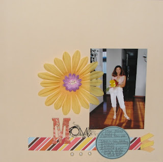 Scrapbook layout following candy shoppe challenge to use strips of paper and colors. The page has white space and flowers.