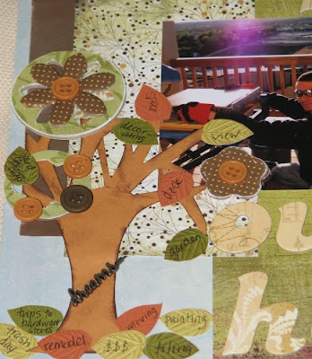 Closeup of a tree element on the scrapbook page with chipboard accents, buttons and stamped leaves