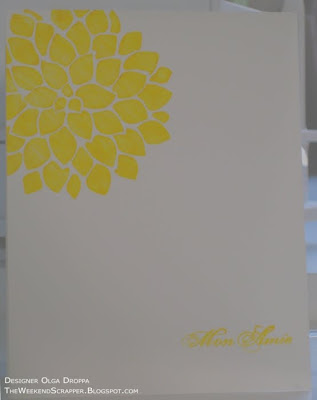 Clean and simple card on white card stock with Fabulous Flowers set stamped in yellow