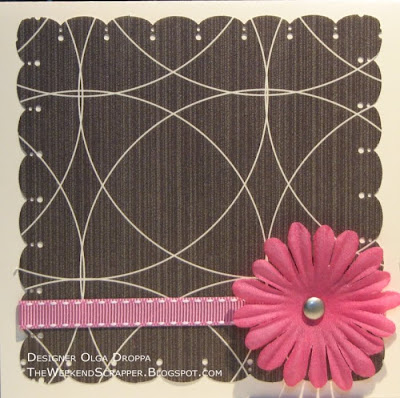 Handmade clean and simple card with a layer of Paper Studio DP and a large silk flower
