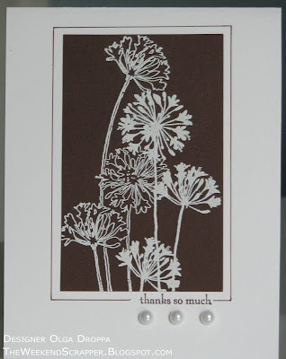 Clean and simple stamped card. Embossed agapanthus cluster on chocolate chip background