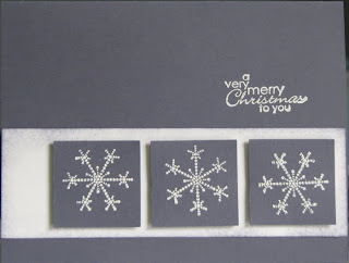 Stamped Christmas cards using Stampin'Up! vintage violet paper and snowflake spot stamp