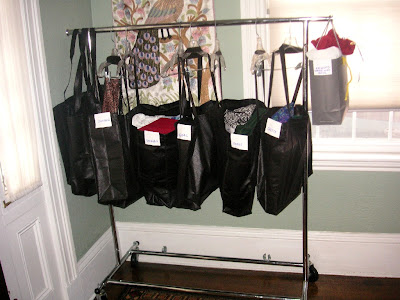 chanukah gift bags on the garment rack