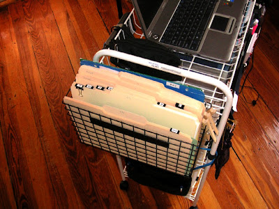 GTDmobile tickler basket hanging on side of the GTD cart