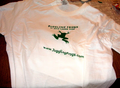 Juggling Frogs: slanted url registration when making Gocco t-shirts