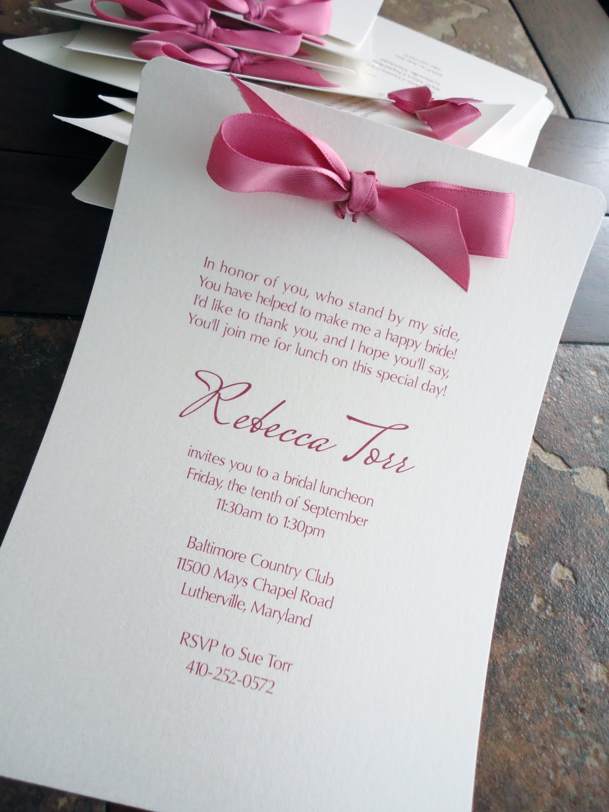 the pink bow at the top gives the invite a little something extra bridal shower invitations are so fun because you can make them bright and colorful
