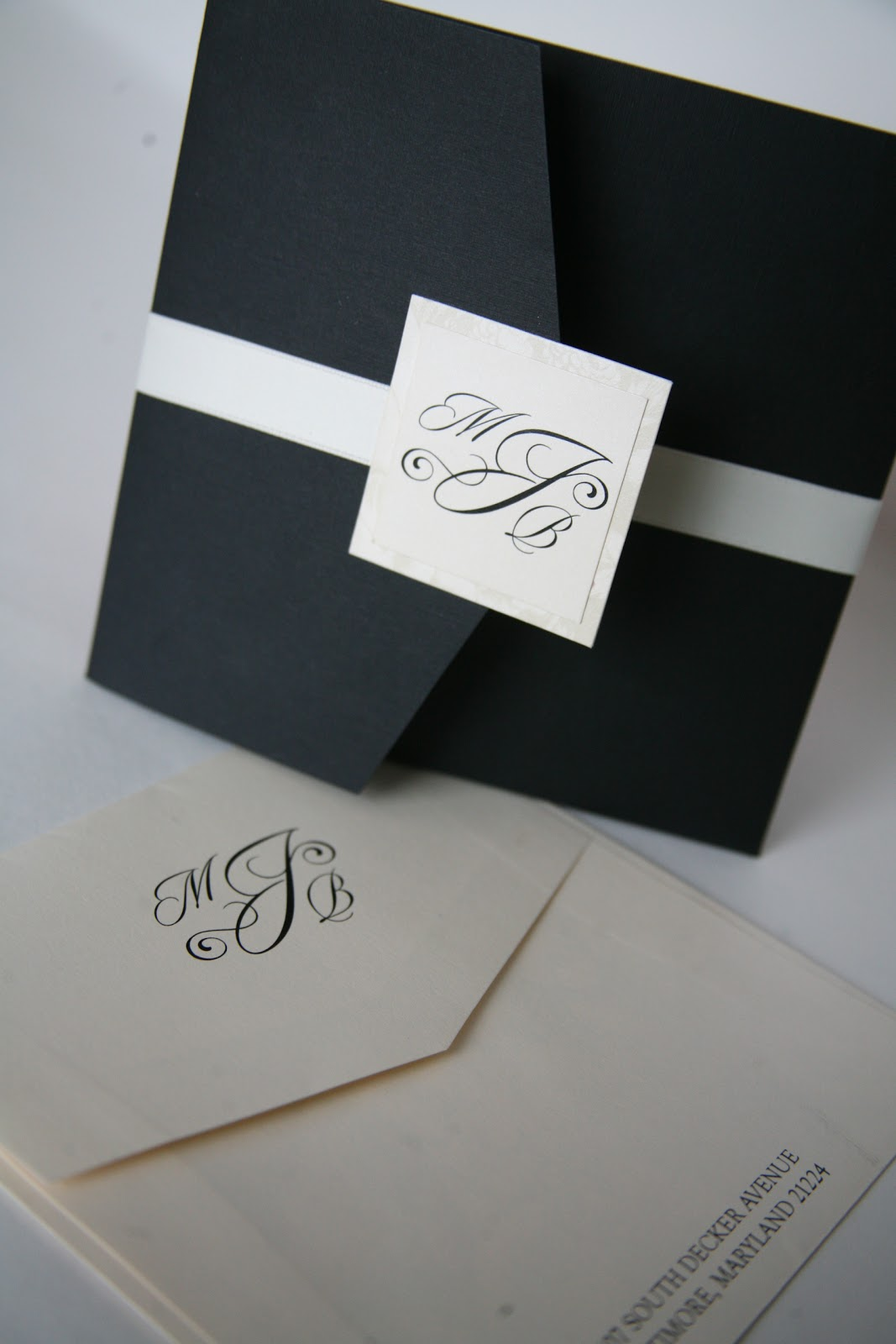 Pocket invitations baltimore wedding invitations baltimore kindly they used a monogram for the outer seal with a clean crisp font they used the monogram through their wedding reception stopboris Image collections