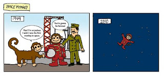 Hilarious comic featuring a russian space monkey  and a rocket ship