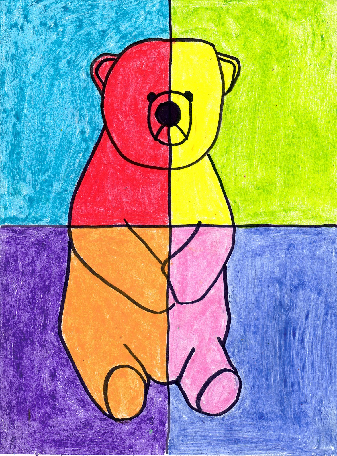 Simple art project ideas abstract oil pastel bear Simple drawing ideas for kids