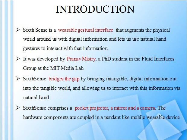 Sixth Sense Technology. of Sixth sense technology