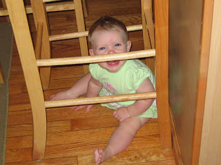 Paige under the chair