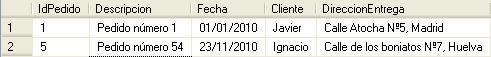 Resultado con la primera y última fila de la sentencia SQL