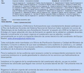 Correo electrónico a todas las Inspecciones Sanitarias ofertando solicitar integrarse en los equipos auditores 2007