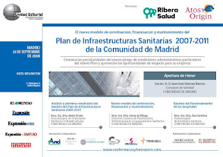 Imagen principal de la publicidad del Foro de Negocios sobre el Plan de Infraestructuras Sanitarias 2007-2011 de la Comunidad de Madrid