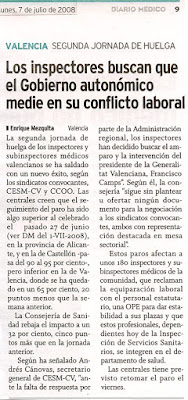 Referencia en Diario Mdico del 7 de julio de 2008 a la huelga de la Inspeccin Sanitaria Valenciana