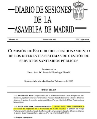 Diario de Sesiones de la Asamblea de Madrid correspondiente al da 7 de enero de 2009. Hacer clic para agrandar.