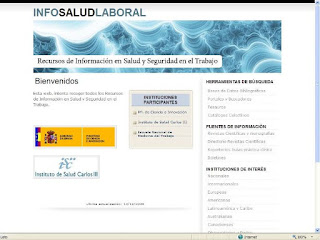 Web InfoSaludLaboral, Pgina Principal.