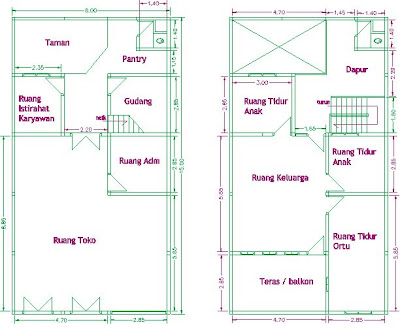 Denah lantai 1 dan 2 / plan of lower floor and upper floor