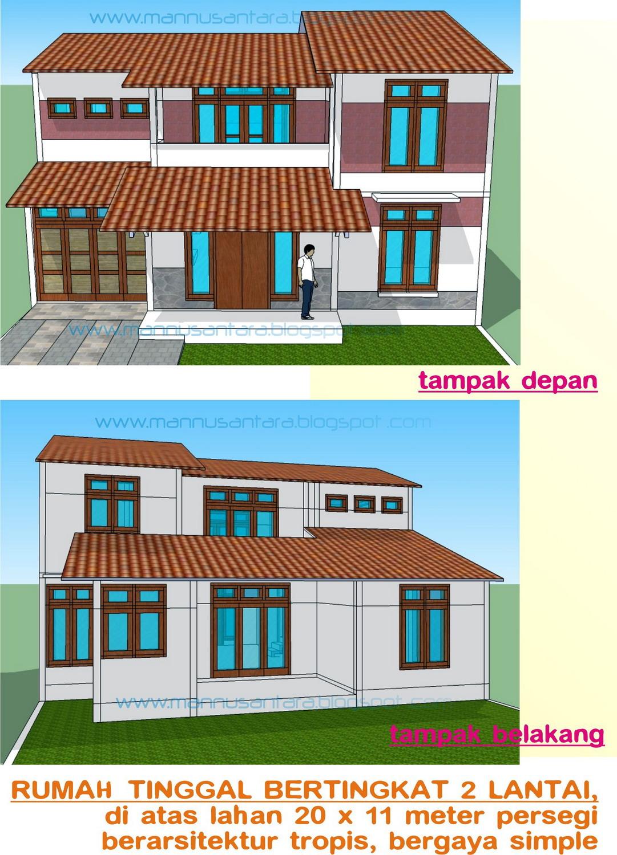Desain bangunan Rumah Tinggal Bertingkat 2 Lantai Berarsitektur Tropis Bergaya Simpel