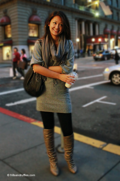Sweater Dress Fashion Leggings on And Ruffles Fashion Blog Banana Republic Sweater Knee High Boots
