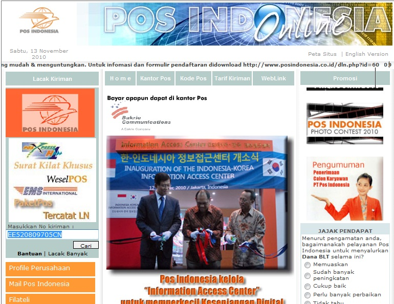 Tracing Ems Dari Web Pos Indonesia Sunarto S Kom